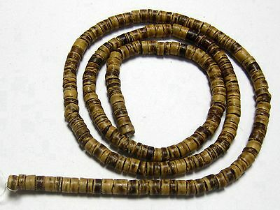 """5 Strands of 22"""" Natural Column Coconut Heishi Beads 5mm"""
