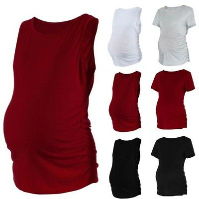 Pregnant Womens Maternity Side Ruched Tops Pregnancy Clothes Tops Blouse Shirt