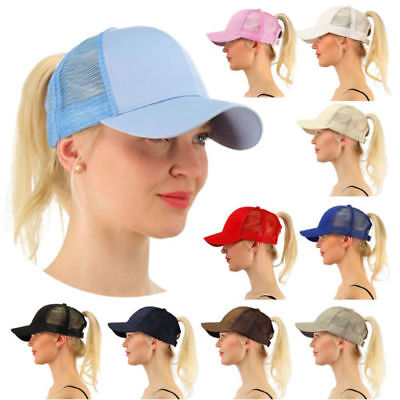 Women's Ponytail Cap Messy Buns Ponycap Adjustable Mesh Baseball Hat -13 colours