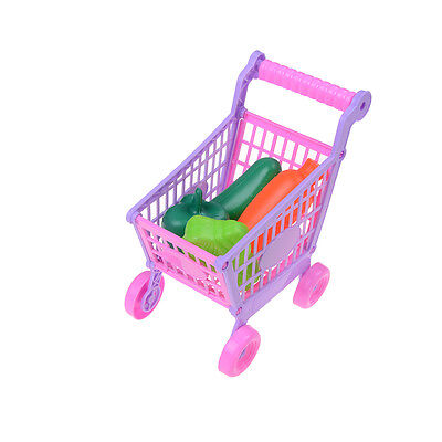 Kids Children Shopping Trolley Cart Role Play Set Toy With Plastic Fruit Food
