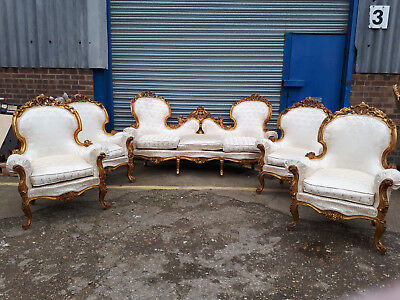 Set Of Gilded Armchairs And Sofa - French Louis 15Th Reupholstered - 583