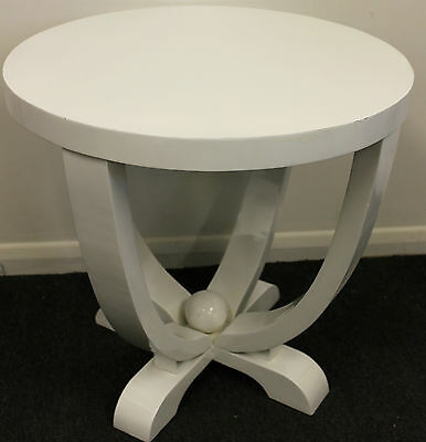 Antique Art Deco Style Furniture - White Round Occasional Coffee Table - C223