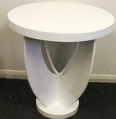 Antique Art Deco Style Furniture White Round Occasional Table - Furniture C300