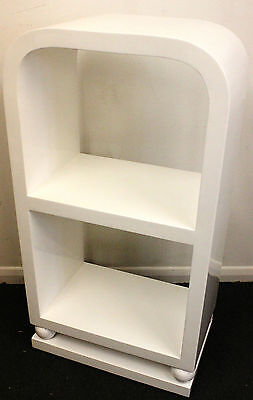 White Antique Art Deco Style Small Bookcase In Walnut - Library Shelf - C297