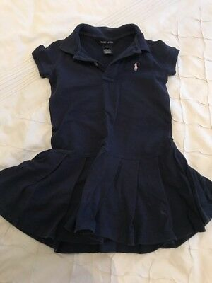 Ralph Lauren Baby Girls Navy Sz 3 / 3T Dress Very Good Used condition