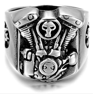 Stainless Steel Motorcycle Engine Skull Ring Gothic Silver Men's Biker Jewellry