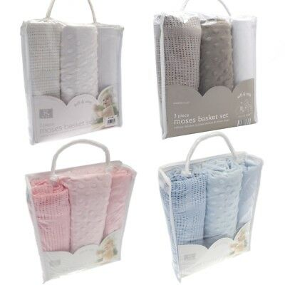 3Pc Moses Basket Set Baby Newborn Bedding Cellular Bubble Blanket Fitted Sheet
