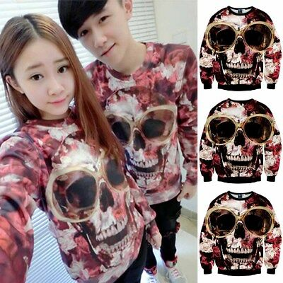 Casual Fashion Trendy Sweater Unisex 3D Comfortable Hedging Skull Tops