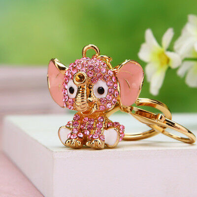 Elephant Keychain Rhinestone Keyring Key Ring Chain Purse Bag Charm Pendant Pink