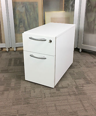 Under Desk 3 Drawer Slim Pedestal | White Lockable Mobile Under Desk Drawers