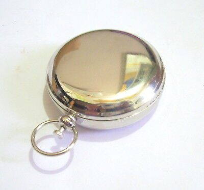 Nautical Brass Nickel Pocket Compass Push Button Maritime London Item For Gift