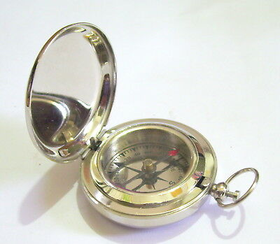 Nautical Brass Nickel Pocket Compass Push Button Maritime London Item For Gift a