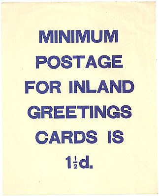 Post Office Gpo Notice/leaflet Minimum Postage For Inland Greeting Cards 11/2D