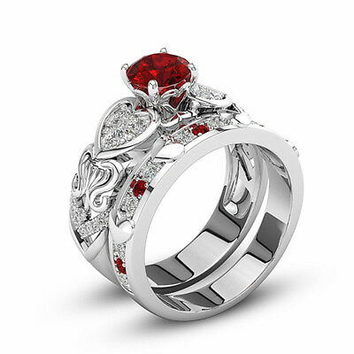 Red Heart Gemstone Ring Layer Square drill Crystal  Accessories  Platinum Zircon
