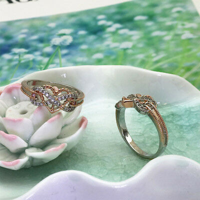 Women&Men Love Heart Ring Dividend Silver Rose Color Copper Wedding Party Gifts