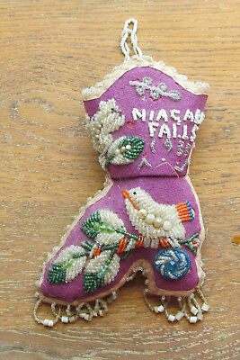 Heavily Beaded Niagara Falls 1933 Pin Cushion Boot!