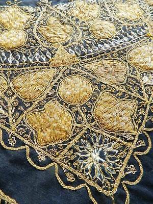 Antique raised couched goldwork metallic hand embroidery black wool tablecloth