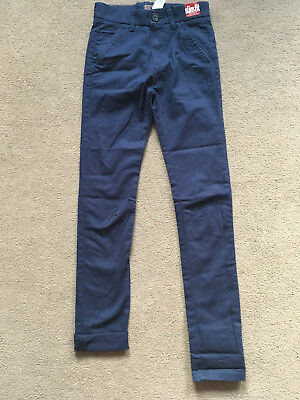BNWT NEXT Navy Blue Skinny Chino Trousers Age 11 Years Slim Fit