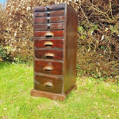 Antique 9 drawer  Industrial Watchmakers/ Apothecary  Cabinet set Of Drawers