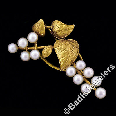 Vintage 18K Yellow Gold 4.5mm Pearl Etched Detailed Dual Finish Leaf Brooch Pin