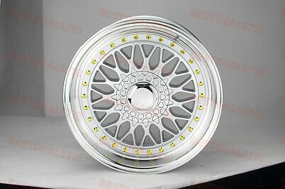 """Set Of Four 17X8.5"""" Rs Style Silver/gold Rims Wheels Fits Bmw 5X120 Jdm 5X114.3"""