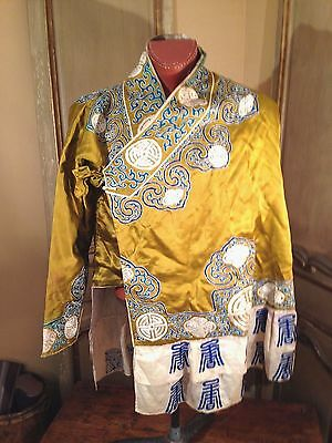 ANTIQUE Japanese Kimono Silk Embroidered Colorful Japan Chinese Tunic RARE