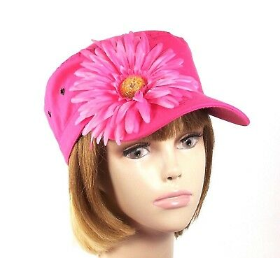 c78e867940d Pink Hatters Cadet Military Lightweight Society Hat Large Daisy Red Hat  Ladies