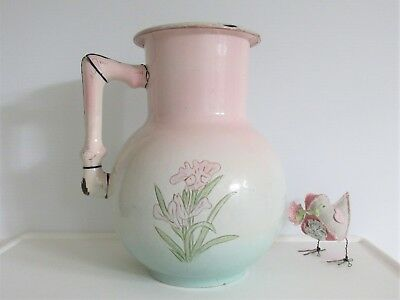 Antique 1880's FRENCH ENAMEL BODY PITCHER Embossed LARGE Water Jug GORGEOUS