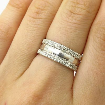 03b367cf1fde8 STERLING SILVER TEXTURED Band Ring (Size 6.0) (4.3 g) - $4.00 | PicClick
