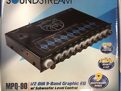New Soundstream MPQ-90 9 Band Equalizer Subwoofer Control EQ 8 Volt Line Driver