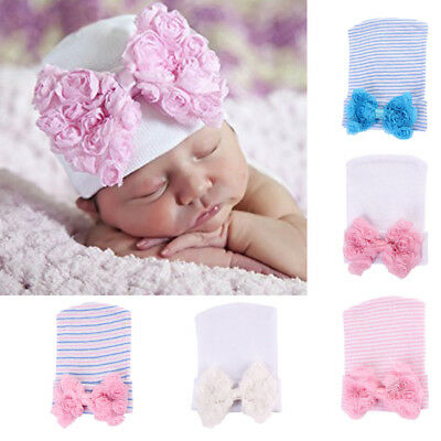 Newborn Stripe Bowknot Beanie Hat Infant Comfy Hospital Cap for 0-6Months