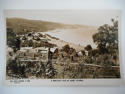 Vintage Birds Eye View Of Lorne, Victoria Real Photo Postcard .. Rose
