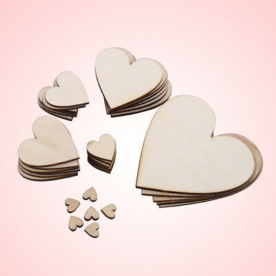 10/20/30/40/50/80MM Unfinished Wooden Love Heart Shape Embellishment for Wedding