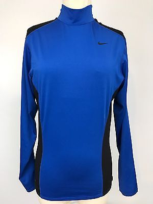 Nike Dri Fit Black Blue Long Sleeve Compression Shirt Running Work Out Track