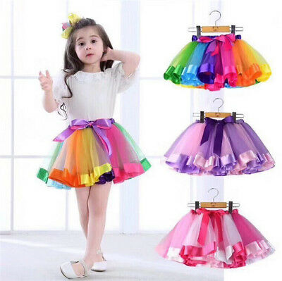 USA Mother and Daughter Summer Rainbow Tutu Skirt Party Dress Matching Outfits