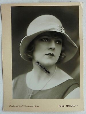 PHOTO MODE 1930 HENRI MANUEL chapeau art deco Marthe CHAUMONT mannequin G317