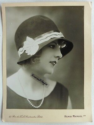PHOTO MODE 1930 HENRI MANUEL chapeau art deco Marthe CHAUMONT mannequin G318