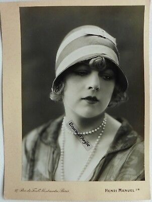 PHOTO MODE 1930 HENRI MANUEL chapeau art deco Marthe CHAUMONT mannequin G319