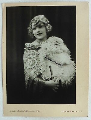 PHOTO MODE 1930 HENRI MANUEL chale plumes art deco Marthe CHAUMONT G321