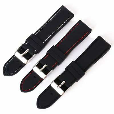 UK Silicone Rubber Sport Wrist Watch Band Strap Belts with Thread 18 20 22 24mm