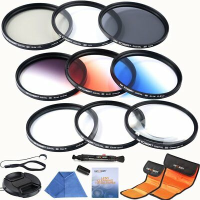 K&F Concept 62mm UV CPL ND4 Close up +4 +10 with 3 Graduated Coulour Filter Kit