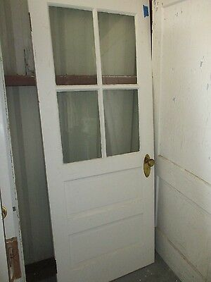Exterior Antique Wood Door 4 Panes Glass 2 Raised Panels Approx 32 X 74