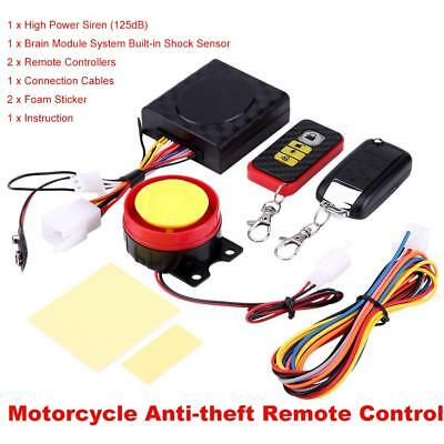 12V Motorcycle 125DB Anti-theft Security Alarm System Remote Control Waterproof