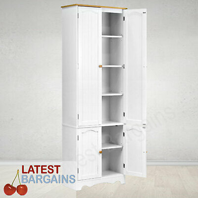 White Cupboard 4 Door Storage Pantry Linen Laundry Kitchen Cabinet 1.8m