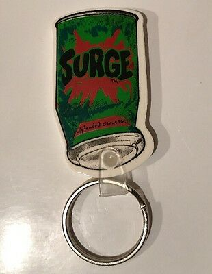 Rare New Unused Surge Soda Can Shaped 90's Promo 2 Sided Keychain Key Ring