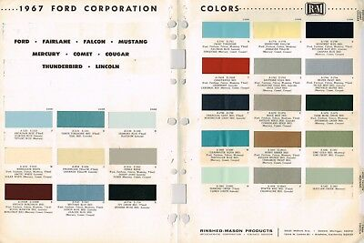 1967 FORD/MERCURY/LINCOLN Color Chip Paint Sample Brochure/Chart:T-Bird,Mustang