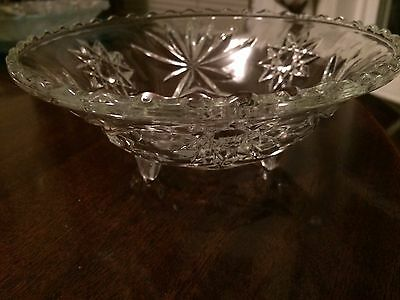 Vtg Pinwheel Star Cut Glass Crystal Three-Footed Bowl Dish Beaded Scalloped Rim