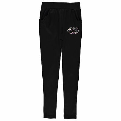 Lonsdale Open Hem Jogging Bottoms Youngster Girls Jersey Trousers Pants