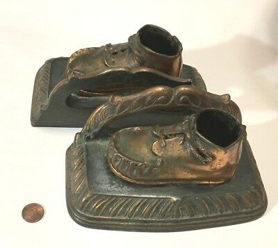 BOOKENDS Antique Baby Shoes 1920s Art Nouveau SOLID Brass Copper Plated Bronze