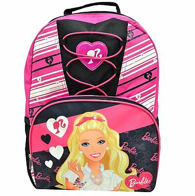 """New Barbie Deluxe Lace Pink / Black Girls 16"""" School Backpack"""
